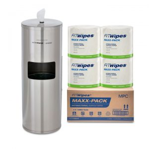 WOW Wipes® 4 x 1200 'MAXX-PACK' Antibacterial Wipes + Stainless Steel Dispenser 1200SP3