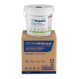 WOW Wipes® Antibacterial Wipes Dispenser Bucket With Maxx-Pack 1200 Roll
