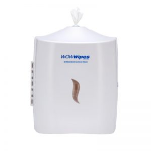 WOW Wipes® Antibacterial Wipes Dispenser – Wall Mounted Silicone Nozzle Dispenser: White Dispenser.