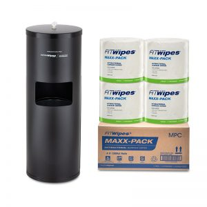 WOW Wipes® 4 x 1200 'MAXX-PACK' Antibacterial Wipes + Matte Black Standing Dispenser 1200SP3-MB