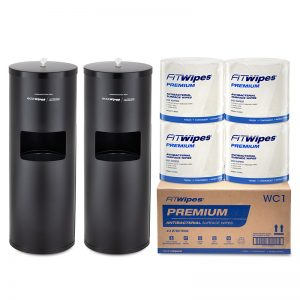 WOW Wipes® 4 x 810 'PREMIUM' Antibacterial Wipes + Matte Black Standing Dispensers 810SP4-MB