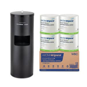WOW Wipes® 4 x 800 WOW WIPES Bamboo + Matte Black Standing Dispenser WBSP3-MB
