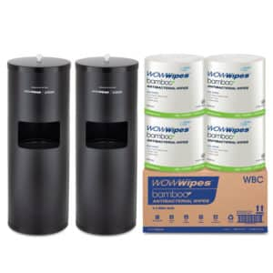 WOW Wipes® 4 x 800 WOW Wipes Bamboo + Matte Black Standing Dispensers WBSP4-MB