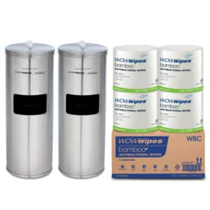 WOW Wipes® 4 x 800 WOW Wipes Bamboo + Stainless Steel Dispensers WBSP4